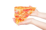 piece of a pizza in giving hands