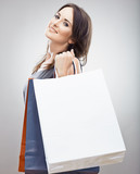 Happy Woman hold shopping bag.