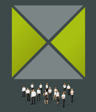 Gray and green template for brochure with business people