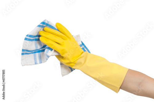 hand in cleaning glove with towel