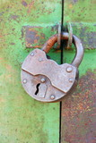 Old rusted garage padlock
