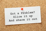 Share Your Problems Concept on a cork notice board