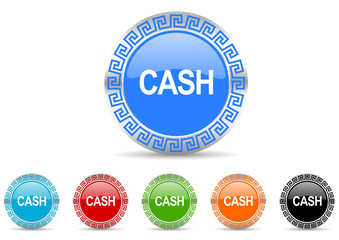 cash vector icon set