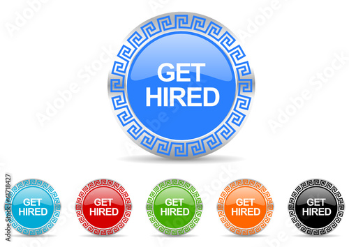 get hired vector icon set