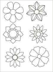 A Set of 6 Stylized Flowers