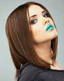 Beautiful woman face. Beauty portrait. Beautiful blue lips. - 61719018