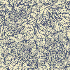 Seamless  blue doodle pattern with spirals and swirls