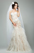 Wedding. Bride Fashion Model in Sleeveless White Bridal Dress
