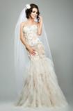 Wedding. Bride Fashion Model in Sleeveless White Bridal Dress
