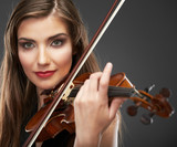 Music portrait of young woman.  Violin play.
