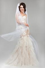 Expression. Positive Emotions. Smiling Bride in Wedding Dress