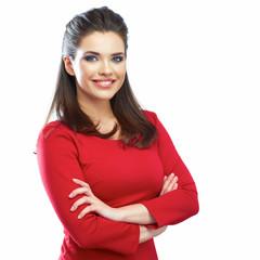 Momain red dress portrait.