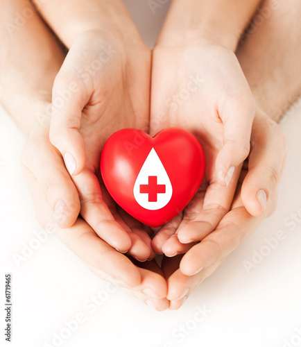 hands holding red heart with donor sign