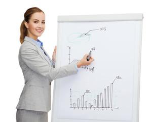 smiling businesswoman standing next to flipboard