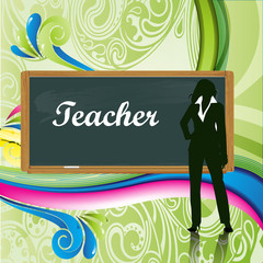 profesora con pizarra