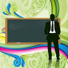 profesor con pizarra