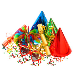 confetti, garlands, streamer, cracker, party glasses