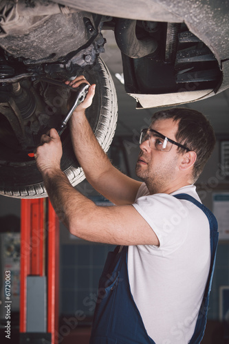 poster of Car mechanic working in auto repair service