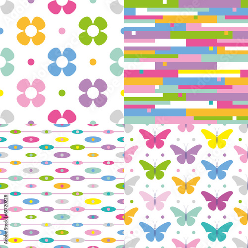 flowers, stripes, dots and butterflies pattern collection
