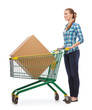 smiling young woman with shopping cart