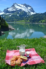 Milk, cheese and bread served at a picnic. Switzerland