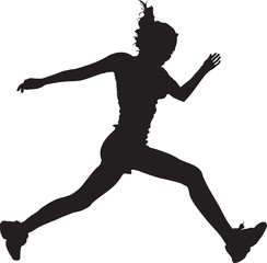 Running girl black silhouette