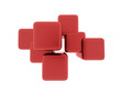 Abstract red cubes business concept