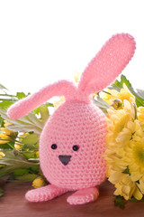 handmade easter bunny with spring flowers