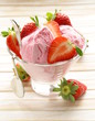 strawberry ice cream served with fresh berries