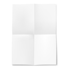 Blank sheet of paper folded in four