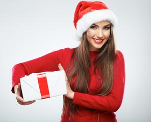 Christmas woman, Santa hat portrait. Gift box.
