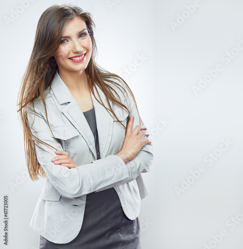 smiling business woman portrait isolated on white background.