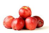fresh organic ripe red apples on a white background