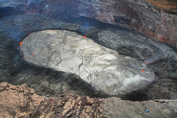 Aerial view of lava lake of Puu Oo crater