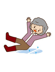 凍結路面で転倒