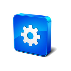 Setting 3d Blue Rounded rectangular Vector Icon Button