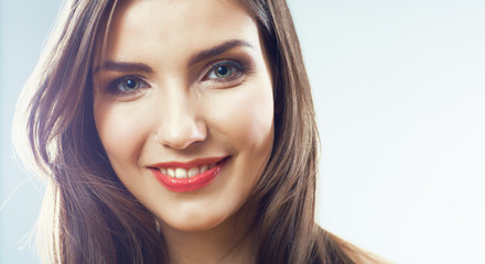 Girl face close up. Beauty young woman isolated portrait.