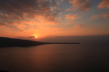 Sunset View in Oia, Santorini Island, Greece