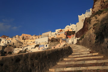 landscape of Oia village in Santorini Greece
