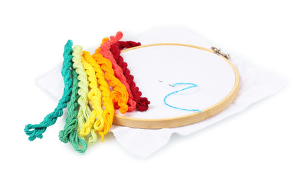 The embroidery hoop with canvas and bright sewing threads for