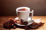 cup of hot chocolate, cinnamon sticks, nuts and chocolate