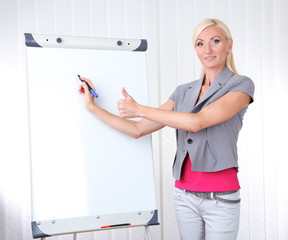 Businesswoman presenting on flipchart in office