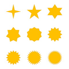 Set of golden stars