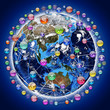 Application icons around the earth