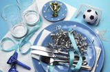 Soccer party table settings in light sky blue team colors