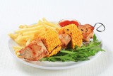 Turkey and sweetcorn skewer with French fries