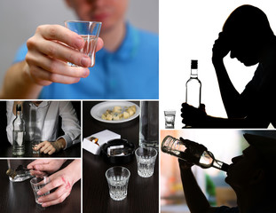 Collage of alcoholism close-up