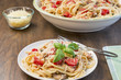 Chicken, tomato and basil linguine