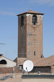 Tower medieval with parabola dish