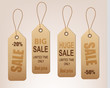 Set of vintage discount tags. Vector.